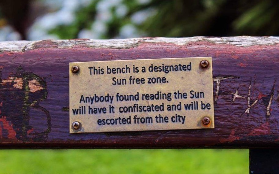 On a bench in St Johns gardens, not sure if this is still there...#dontbuythesun #liverpool https://t.co/XeMGiptwpu
