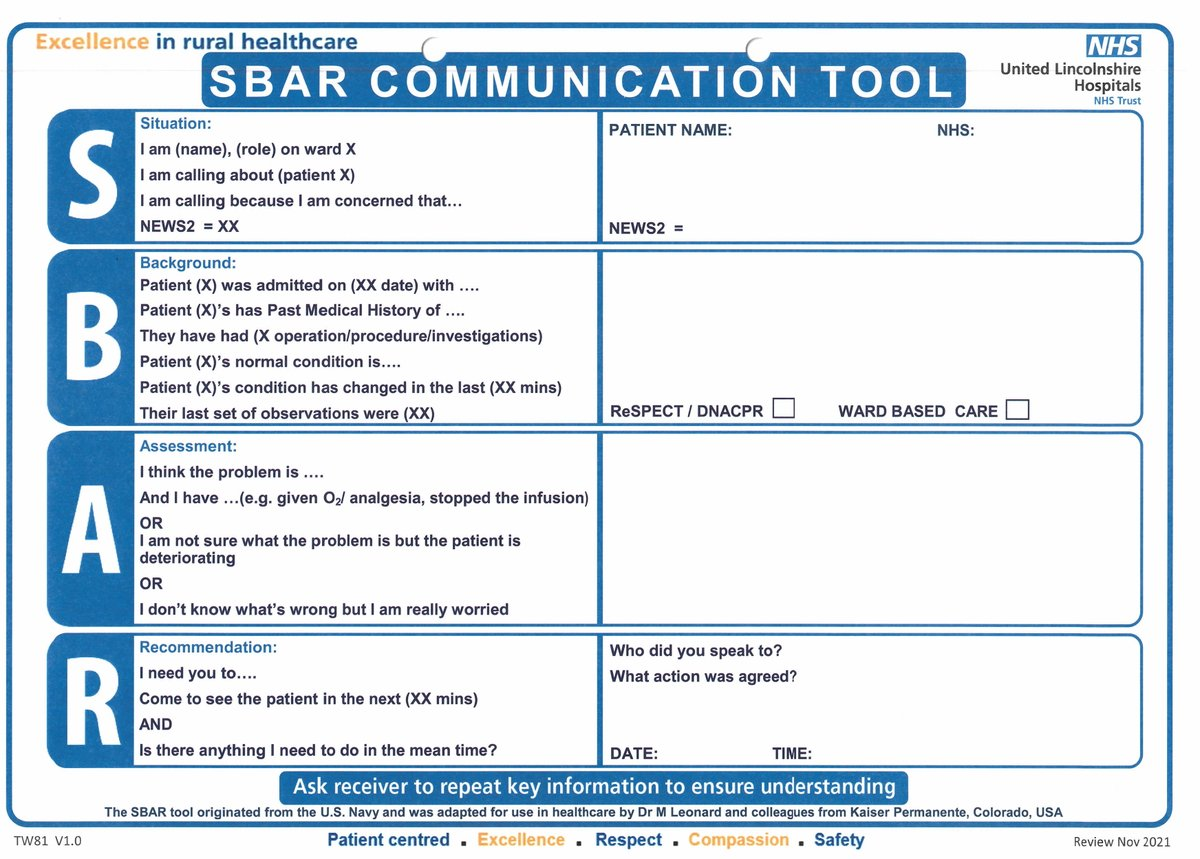 """Becky Edwardes on Twitter: """"CCOT appreciates that many staff find For Sbar Template Word"""
