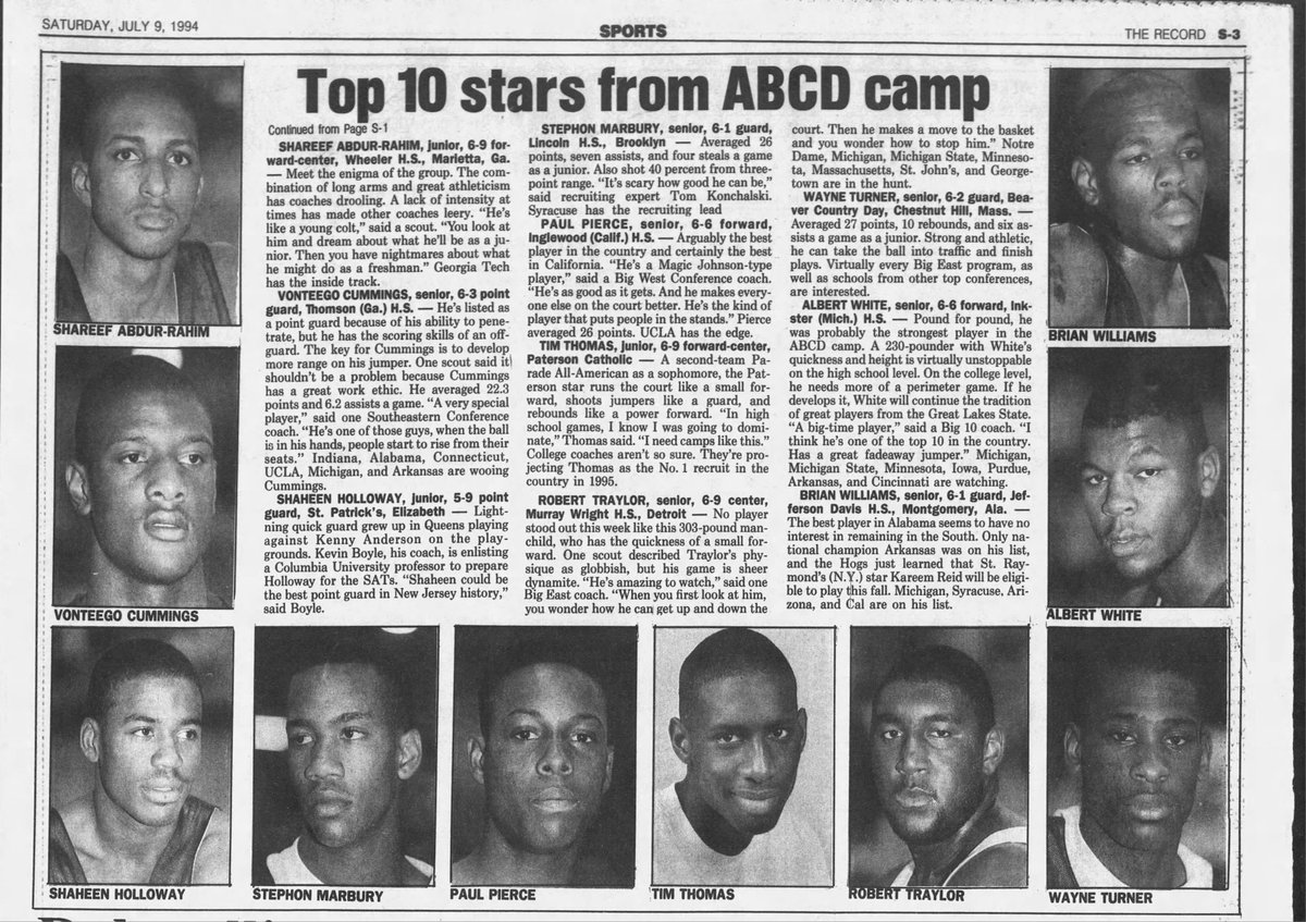 #TBT July 9th, 1994. The top-10 players from the 1994 ABCD Camp. A few of these guys would wind up in the @NBA.