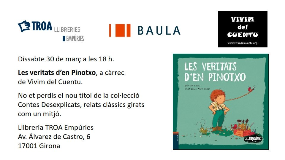 Aquest dissabte, 30 de març. Us hi esperem!!! @vivimdelcuentu #Girona #contecontes #infantil