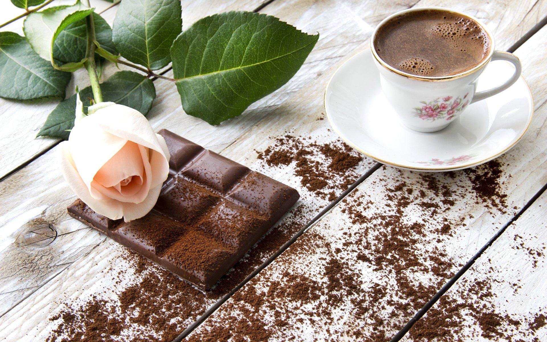 Открытка доброе утро кофе и шоколад, днем