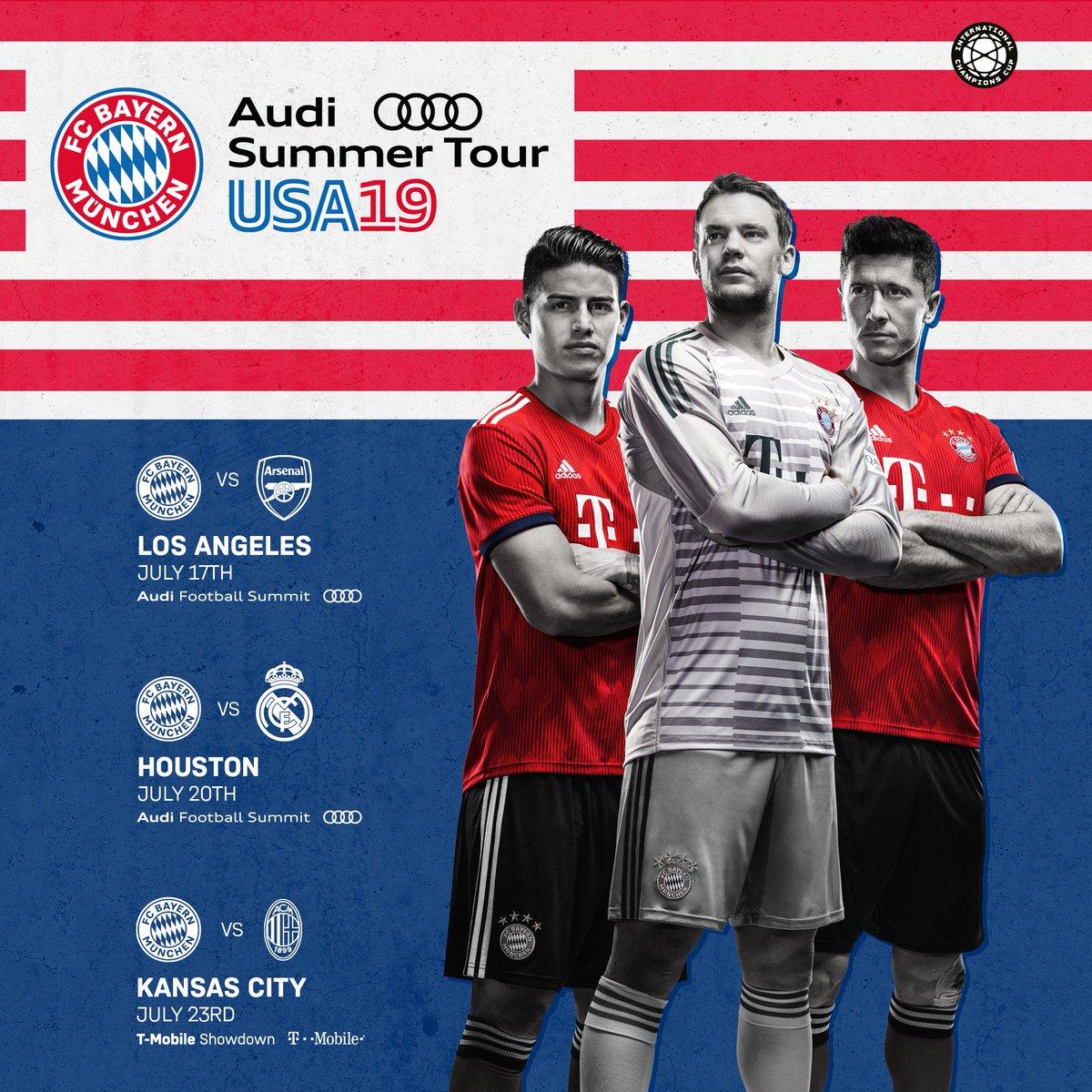 Reise von Bayern München: Testspiele gegen Arsenal, Real Madrid und Milan