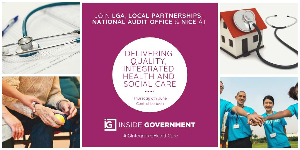 RT @InsideGovt Discuss how the #NHS, local councils & the voluntary sector can integrate health and social care services to create a sustainable, future-proof care system with @LP_localgov, @LGAcomms, @NAOorguk & @NICEcomms at #IGIntegratedHealthCare  Full agenda - https://t.co/PNKamVHIFG