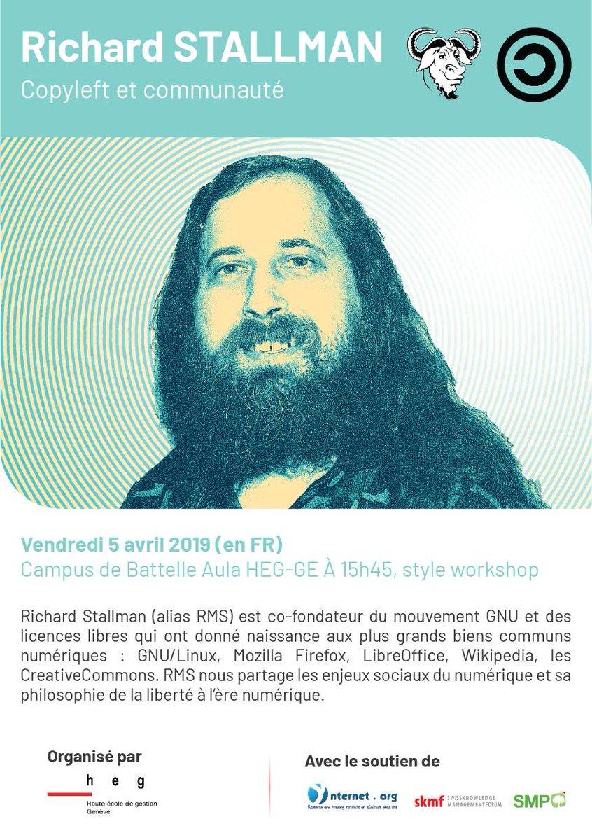 Vendredi 5 avril à 15h45 à la Haute École de Gestion de Genève !  #richardstallman #rms #logicielslibres #numerisation #digitalisation #linux #gnu #linuxuser #it #freesoftwaremovement #computer #computerscience #opensource #technology #heg #heggeneve #hegig #informatiquedegestion https://t.co/b8HbLDKHrD