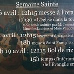 Image for the Tweet beginning: Programme de la Semaine Sainte