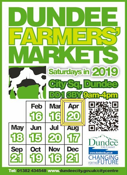 Dundee Farmers' Markets this Sat (20 Apr), 9am-4pm, City Square.  🔷Crafts, ceramics, soaps 🔷Meat, fish, cheese 🔷Confectionery, baking 🔷Sauces, chutneys, jam 🔷Gin, beer, wine  Find out more https://bit.ly/2XYqG7F   #FarmersMarket