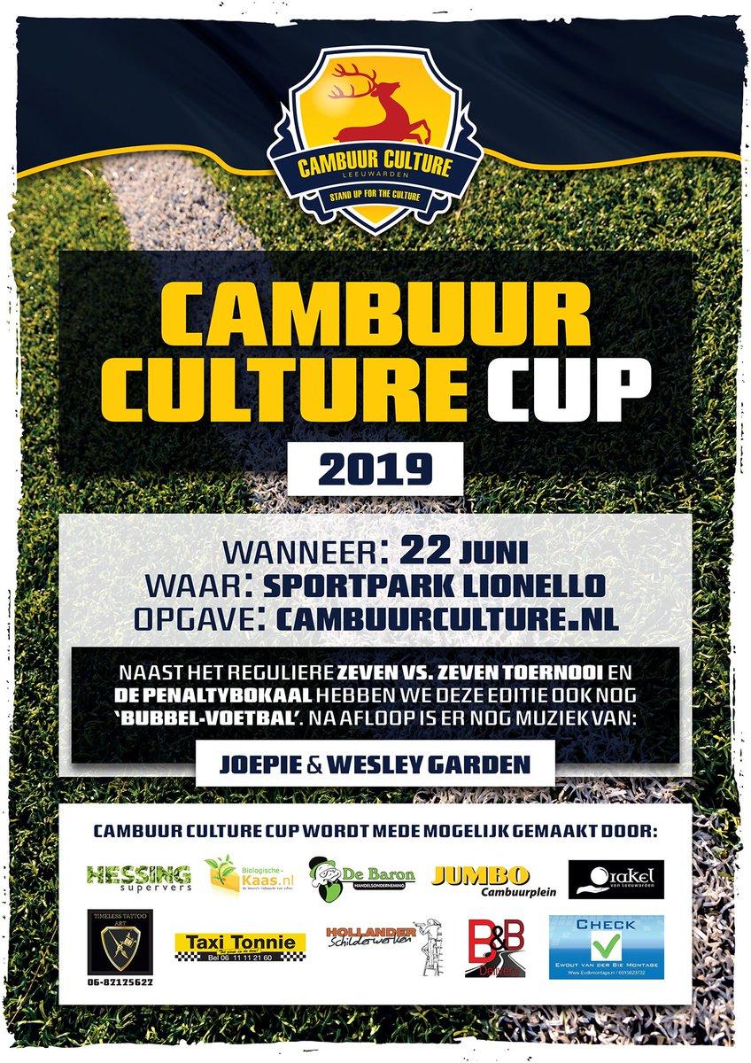 Inschrijving Cambuur Culture Cup van start!  Zaterdag 22 juni organiseert Cambuur Culture voor de 6e keer het 7 vs 7 voetbaltoernooi voor de supporters van SC Cambuur.  Inschrijven via: http://webshop.cambuurculture.nl  #Cambuur #ccc19 #supporters #toernooi