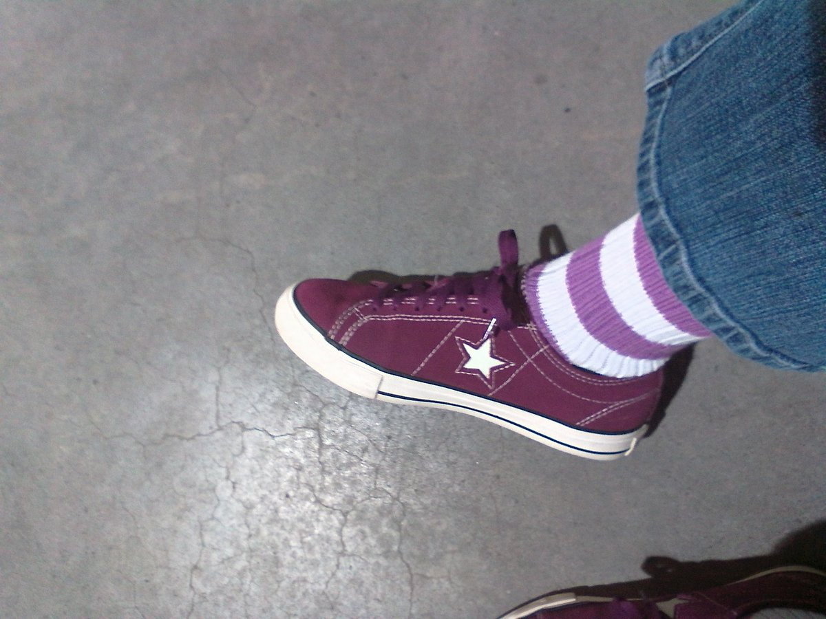 d6f3890e46e3 Todays combo  Fair s Cup anniversary socks from  SockCouncil Resurrected   converse One Stars in purple suede Ready to face the world!