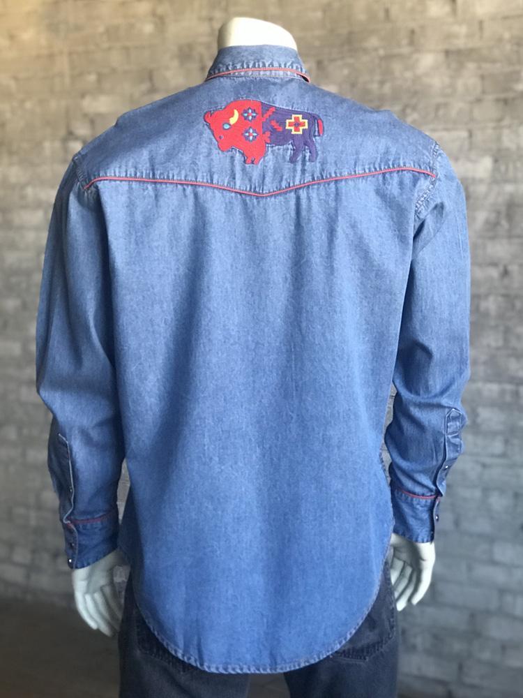 d60bb8a4d8 Men s Denim Bison Western Snap Shirt-DENIM  https   www.vintagewesternwear.com Rockmount-Men-s-Denim-Bison-Western-Snap- Shirt-DENIM.html …pic.twitter.com  ...