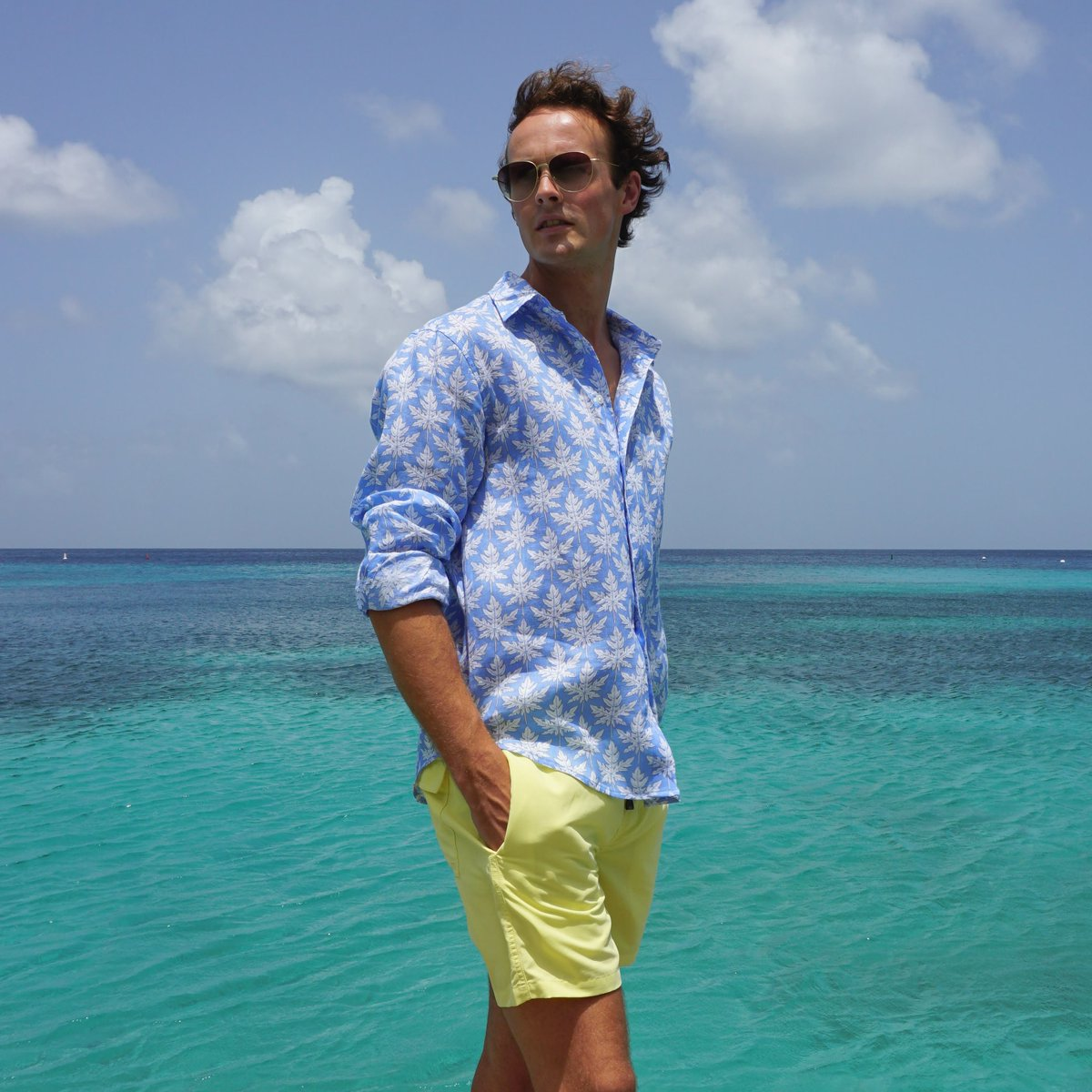 b409c50083 True to #Mustique style, our men's linen shirt in papaya leaf print is one  of our bestsellers. Shop now: https://bit.ly/2FDtWxU #pinkhousemustique ...
