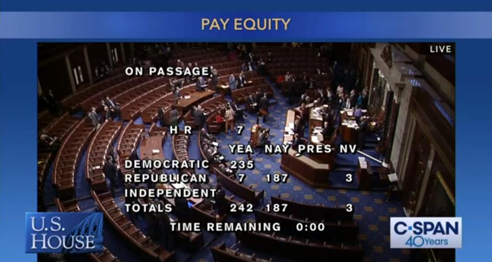 BREAKING: The #PaycheckFairness Act passes the House of Representatives! A transformational victory for working women and their families. #EqualPay