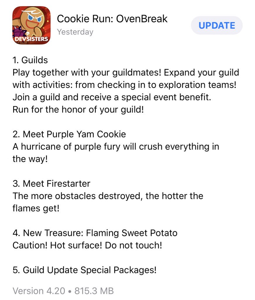 Ovenbreak) New version update is available in Apple App Store and