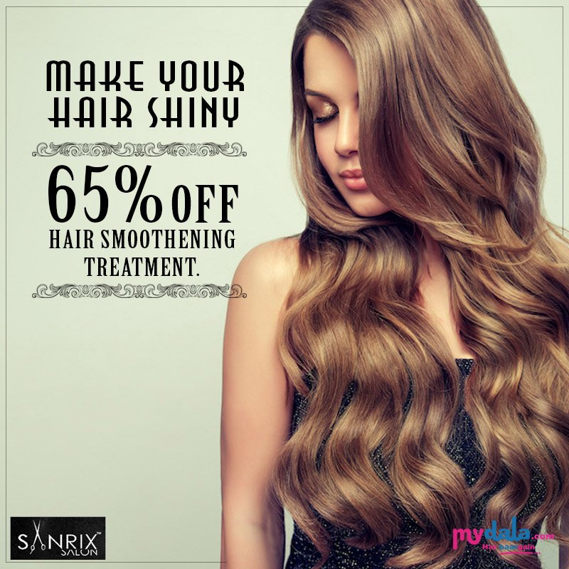 Get Shiny Hair With Sanrix Unisex Salon. 65% OFF On Hair Smoothening Treatment. #smoothening #hairtreatment #offer #salon  Book Now:https://t.co/HUZN55bLHo https://t.co/jT5gZ3p85N