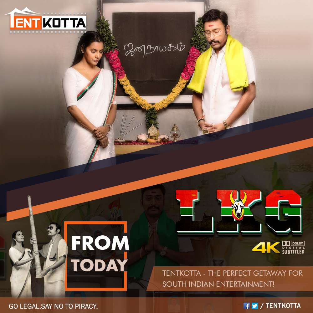 Today release on #Tentkotta: @RJ_Balaji's blockbuster political entertainer #LKG and the national award-winning drama #ToLet directed by Cheziyan.