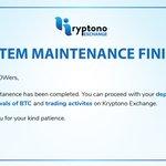 Image for the Tweet beginning: #kryptono #exchange #maintenance #trading #BTC