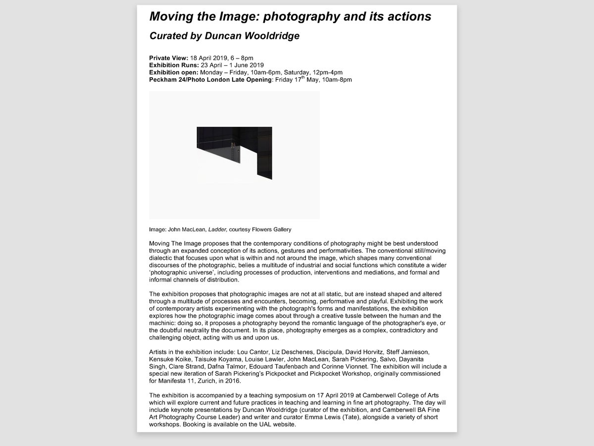 I have work in upcoming show Moving The Image, curated by Duncan Wooldridge. PV at Camberwell Space on Thursday 18th April, 6-8pm. Exhibition opens 23rd April - 1st June 2019. arts.ac.uk/whats-on/movin…