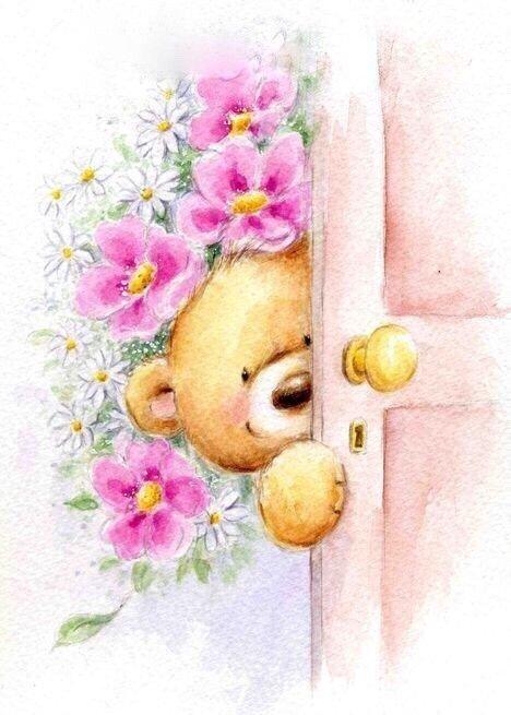 Открытки с мишками и цветами с добрым утром