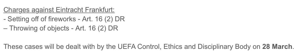 Heute ist die Verhandlung gegen unsere SGE bei der UEFA  - Hoffen wir mal auf Milde der Gerichtsbarkeit 🙈😏 #SGE #InterSGE #benficasge