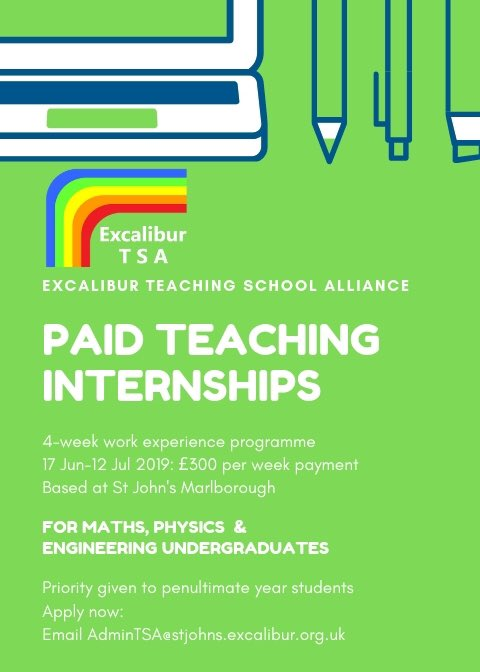 Paid Teaching Internships based @stjohnsmarlb! We're accepting applications from penultimate/final year Maths & Physics uni students for a 4-week paid internship in June/July. More here: https://t.co/6kPWjPObPz @bathspauni @bristoluni @UWEBristol @uniofbath @uniofreading @_UoW