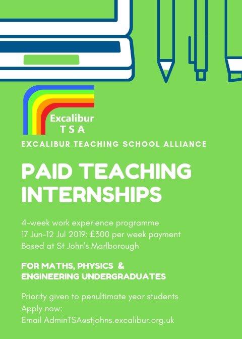 Paid Teaching Internships based @stjohnsmarlb! We're accepting applications from penultimate/final year Maths & Physics uni students for a 4-week paid internship in June/July. More here: https://t.co/6kPWjPObPz @bathspauni @bristoluni @UWEBristol @uniofbath @uniofreading @_UoW