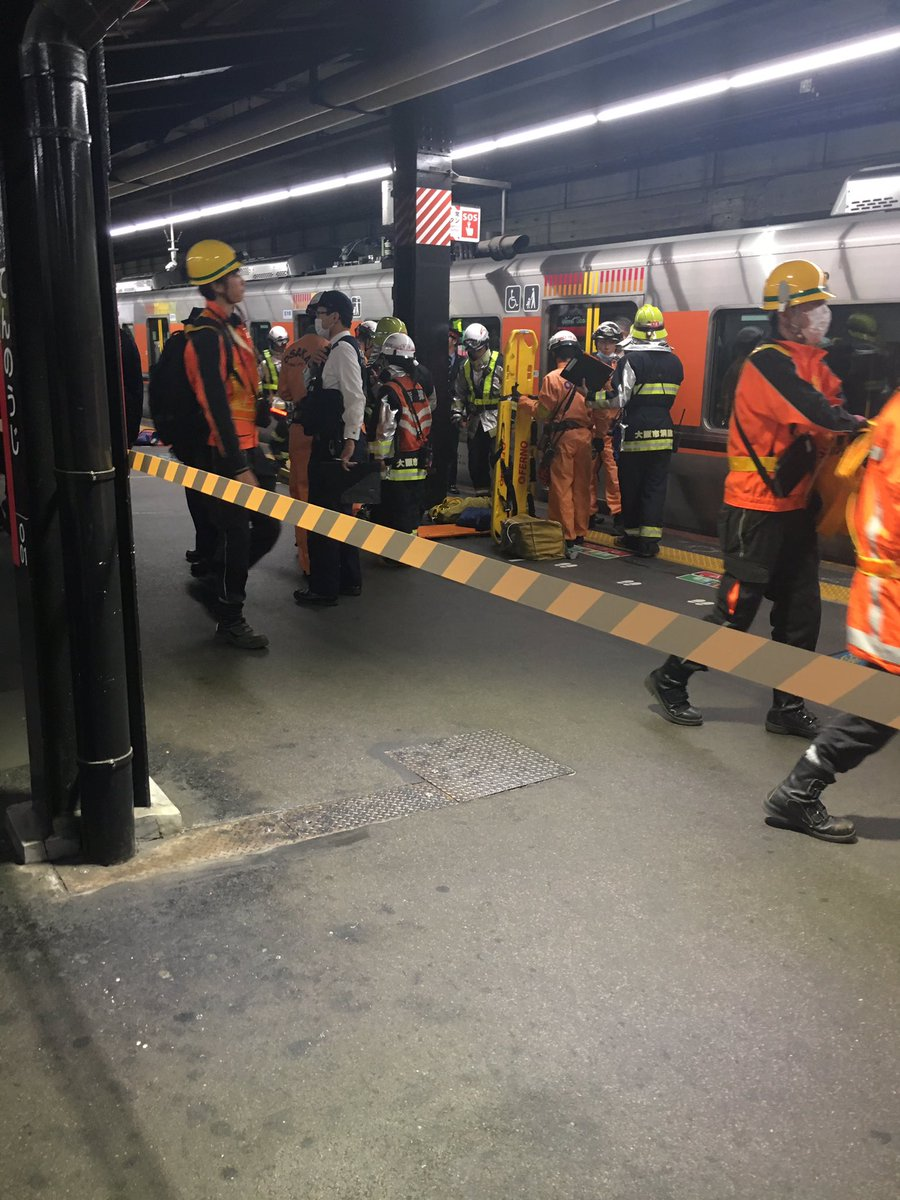 大阪環状線の天王寺駅で人身事故の現場画像