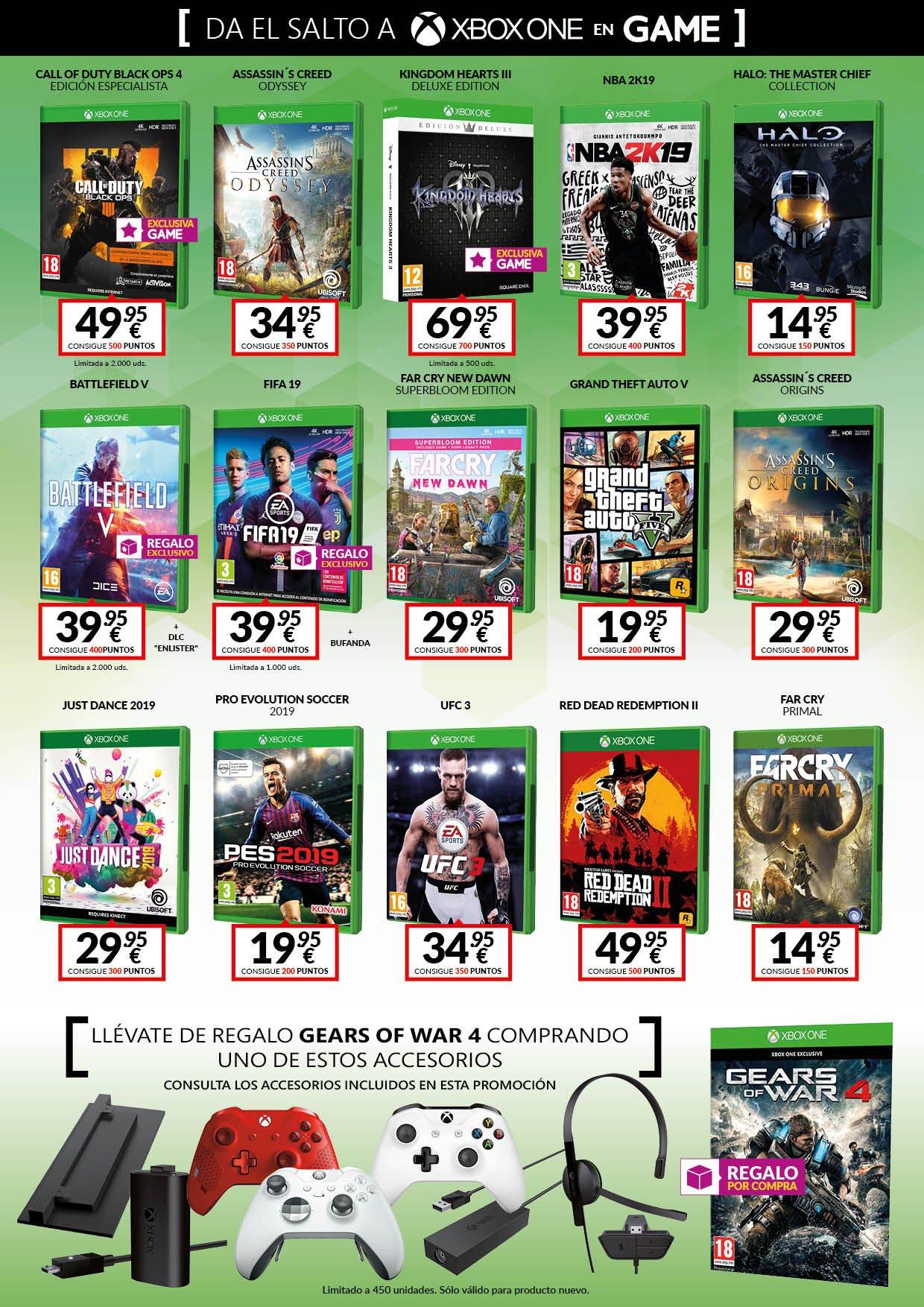 Da el salto a Xbox One con las nuevas ofertas de las tiendas GAME en accesorios y consolas Xbox One 4
