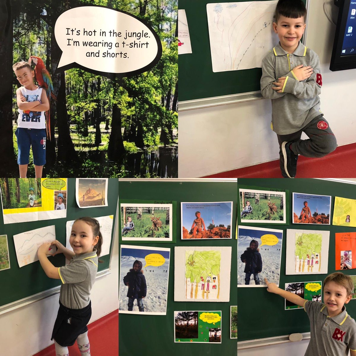 Our 1st graders made a presentation by using posters they made about what they should wear for the jungle, desert and the mountains. 🌴🌵🏔 @BK_Luleburgaz @MrsGecays @DuyguPeran @kivancdizman @ezgibesir
