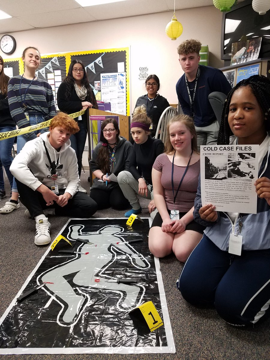 Students in Mrs. Stine's English class participated in a crime scene investigation to find out who really killed Caesar. #EtTuBrute? #BewareTheIdesOfMarch