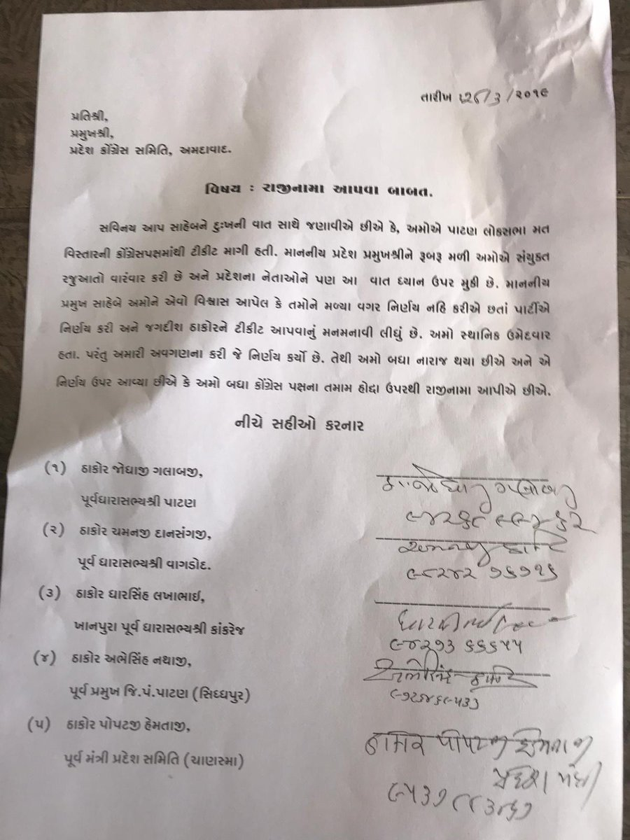 Patan: Five senior Congress leaders in Gujarat including 3 ex-MLA's resign from the party