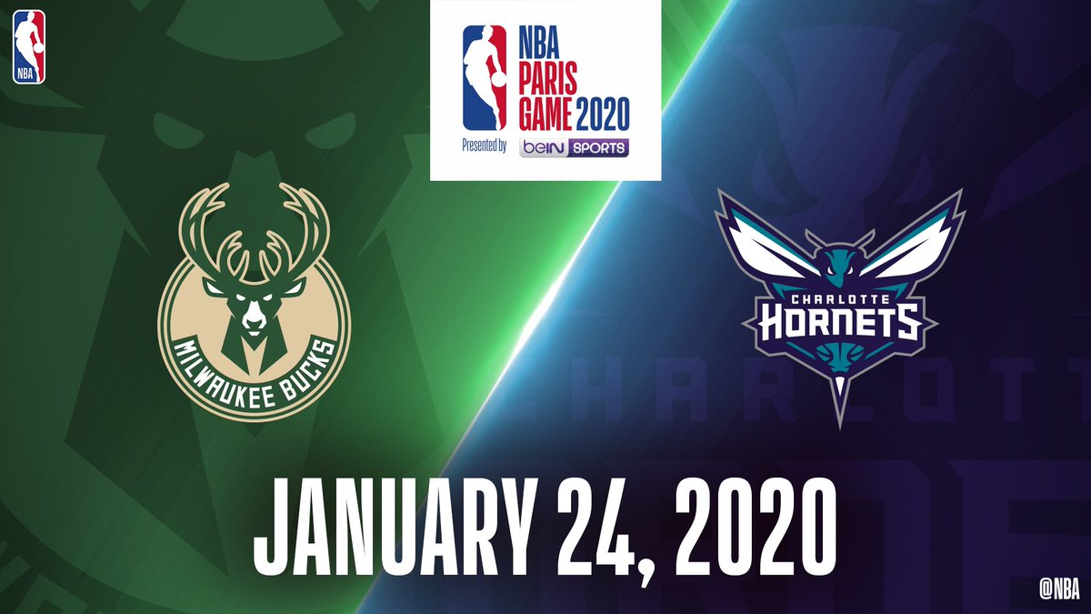 The NBA Paris Game 2020 Presented by beIN SPORTS to feature the @hornets and @Bucks on January 24, 2020.   Visit http://NBAEvents.com/ParisGame to register for #NBAParis ticket information.