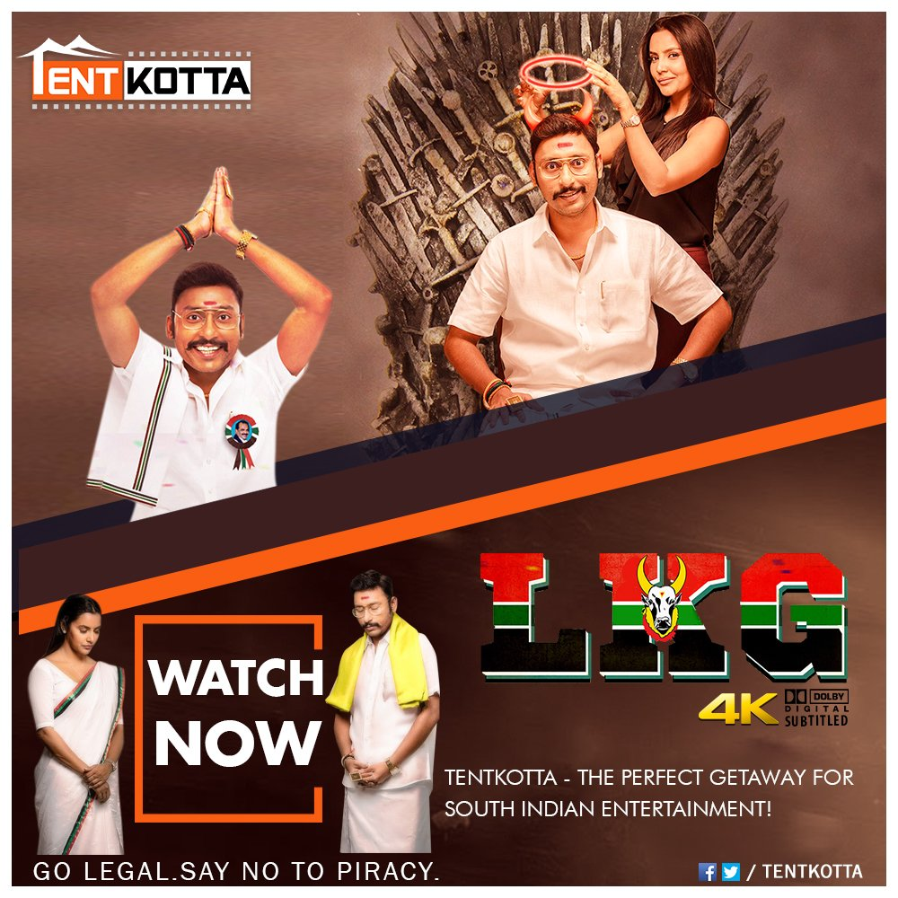 Watch Now on #Tentkotta: @RJ_Balaji's blockbuster political entertainer #LKG and the national award-winning drama #ToLet directed by Cheziyan.