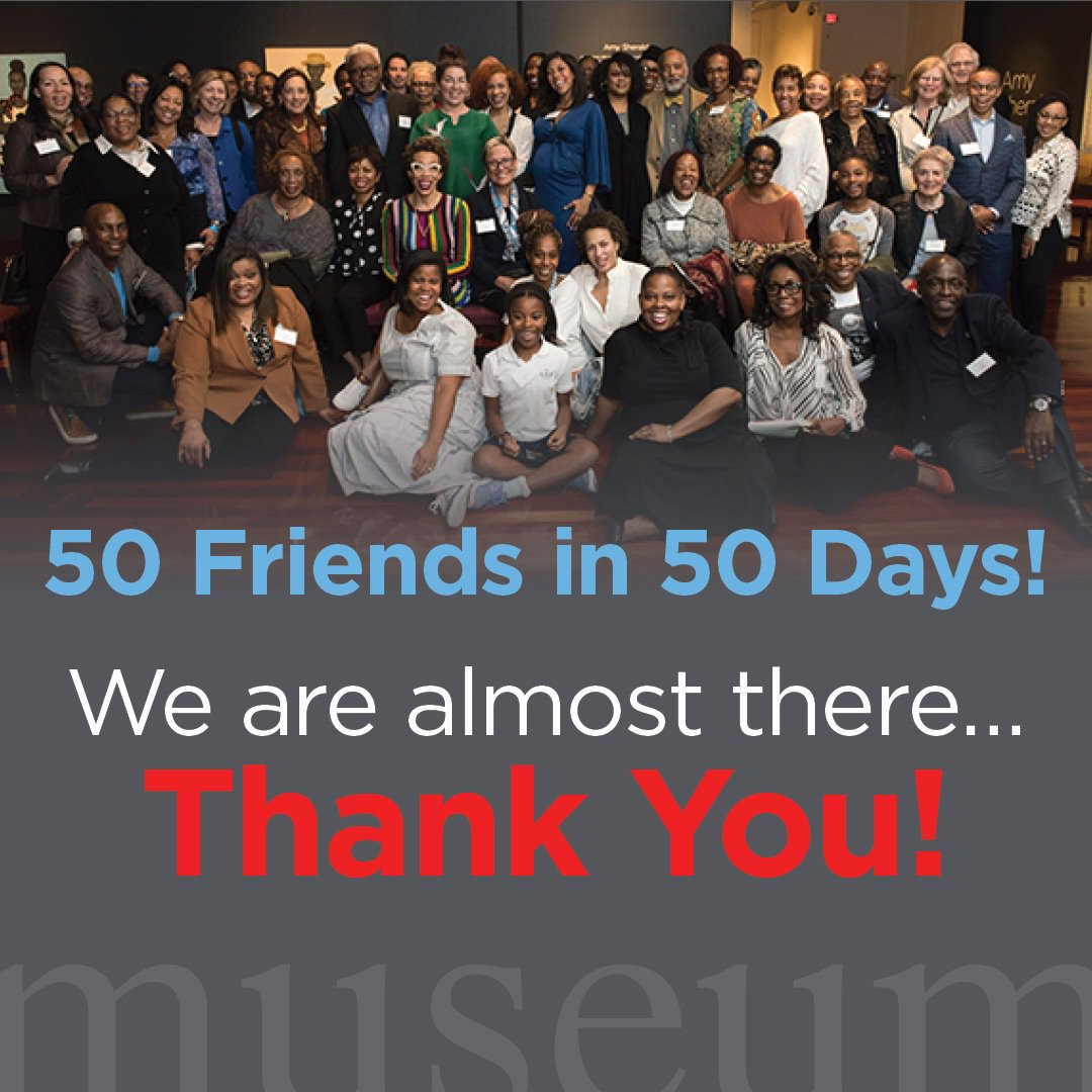 TODAY is the final day of the 50 Friends in 50 days campaign! We are so appreciative of the generous friends who have already sent gifts. Help @spelmanmuseum complete our goal at http://bit.ly/SpelMuse50in50. #SpelMuse #InvestSpelMuse #Philanthropy #50in50 #Art