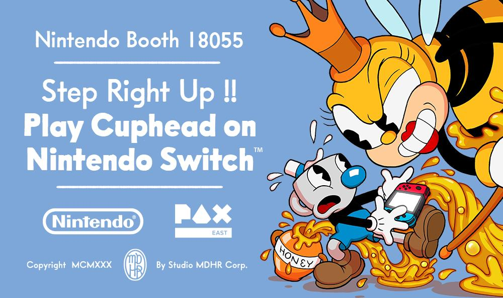 For the first time ever, experience the thrills of Cuphead on Nintendo Switch! Playable today through Sunday in the Nintendo booth at #PAXEast. If you're at the show or in the area, swing on by for a swell battle!