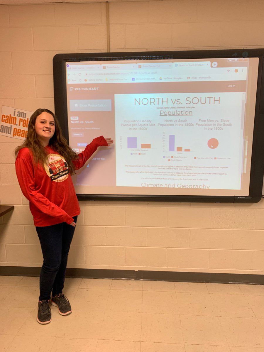 Wow! This student taught a math lesson she created about the differences between the North vs South before the Civil War! Outstanding Olivia! #CardinalPride @CMSCardinals @ClintonMoCards