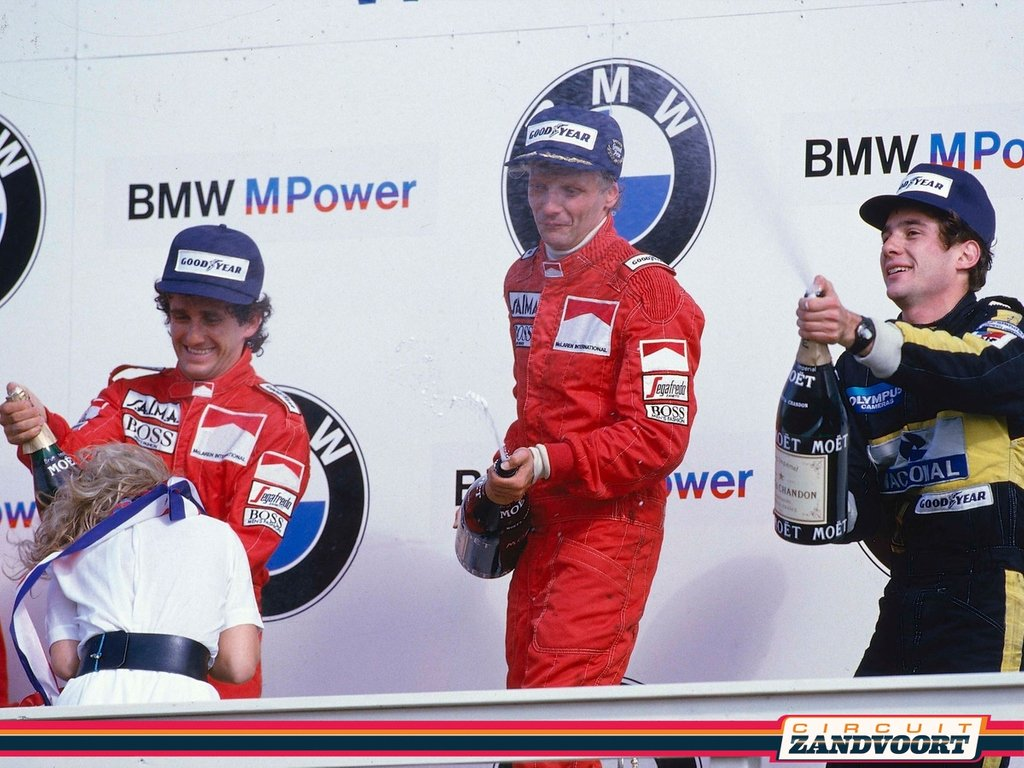 #ThrowbackThursday at Circuit Zandvoort with the podium of the Dutch Grand Prix in 1985. Three F1 legends together... 🥇 Niki Lauda (McLaren) 🥈 Alain Prost (McLaren) 🥉 Ayrton Senna (Lotus) #f1podium1985 #f1whowillbenext  📸: Archive Circuit Zandvoort & http://deviantart.com