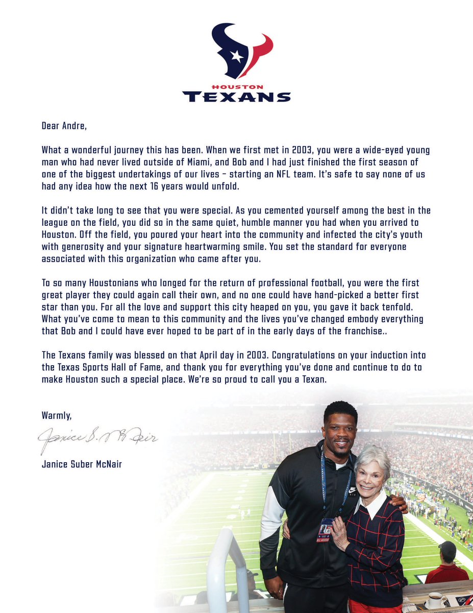 Houston Texans On Twitter Dear Andre A Letter To No 80 From Texans Co Founder And Senior Chair Janice Mcnair