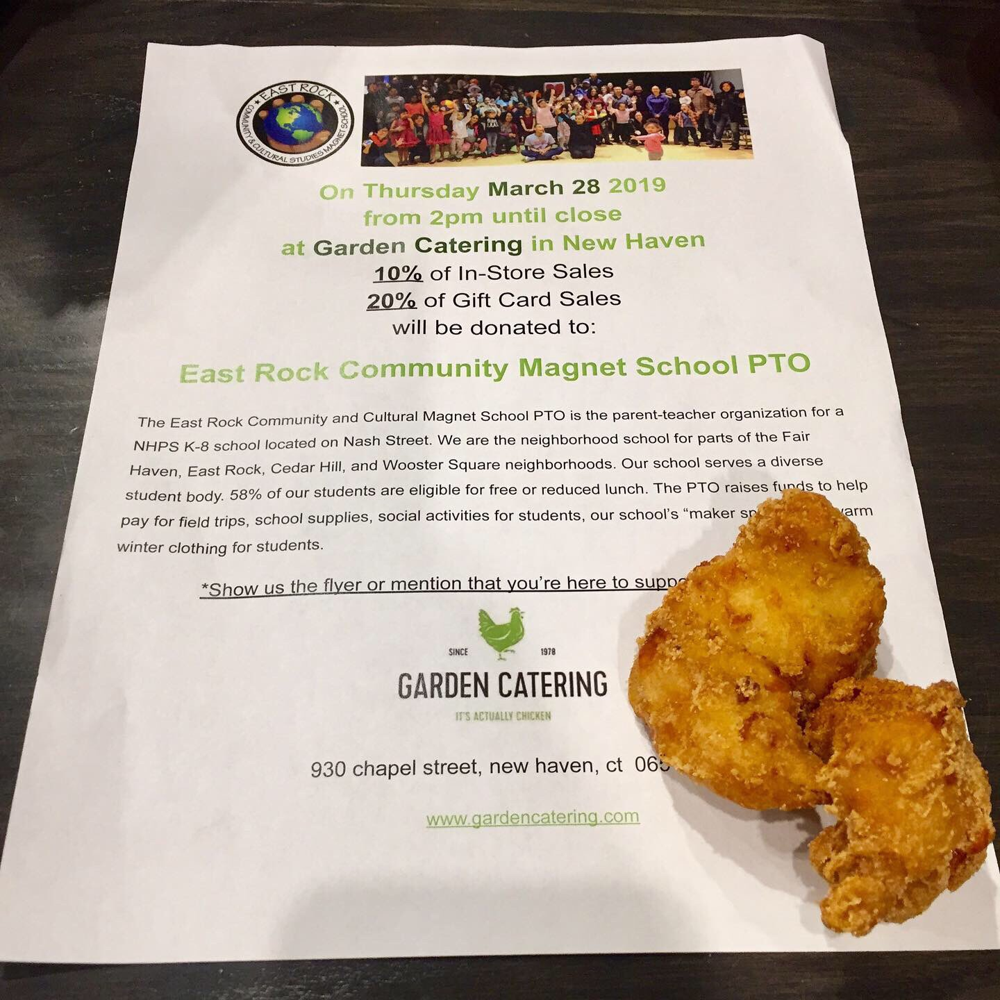 East Rock School Pto On Twitter We Re Nuggets About Gardencatering And Love Supporting Eastrockschoolpto East Rock Community Cultural Studies School Https T Co Yis8rolizl
