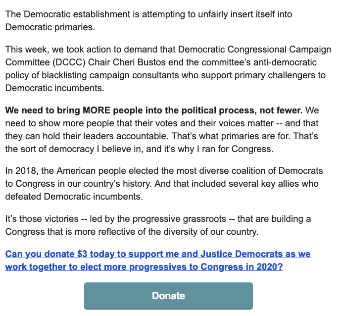 ".@RashidaTlaib authors fundraising email for @justicedems and she's not pulling punches against the DCCC: ""The DCCC has raised millions of dollars from corporate lobbyists who represent the fossil fuel industry, natural gas corporations, the health insurance industry..."""