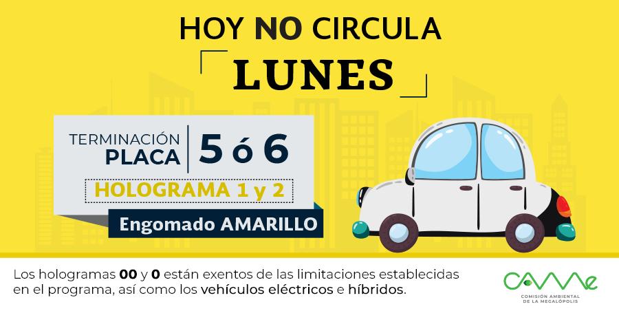 ¡Buenos días! #HoyNoCircula Lunes 20 de mayo en la #ZMVM para vehículos con #EngomadoAmarillo con terminación de placas 5 y 6, holograma 1 y 2. #CAMegalópolis