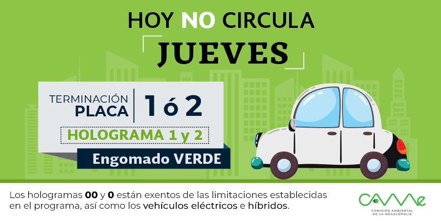 ¡Muy buenos días! El #HoyNoCircula del jueves 23 de mayo en la #ZMVM aplica para vehículos con #EngomadoVerde con terminación de placas 1 y 2, holograma 1 y 2. #CAMegalópolis
