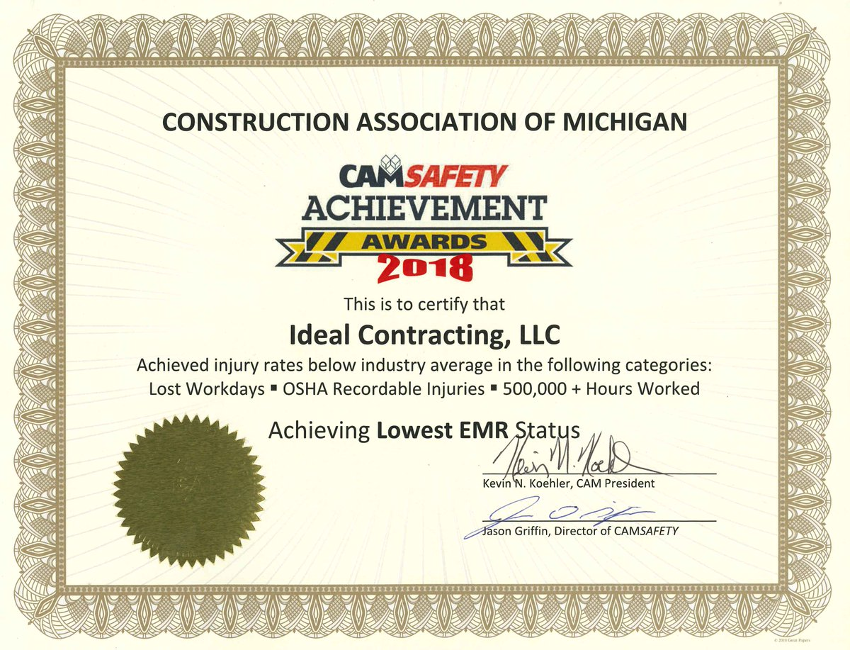test Twitter Media - Proud to announce that Ideal Contracting was awarded the 2018 CAM Safety Achievement Award for achieving lowest EMR status. Our employees live, lead and empower each other to ensure everyone goes home safely. https://t.co/JlxJe1OT8t