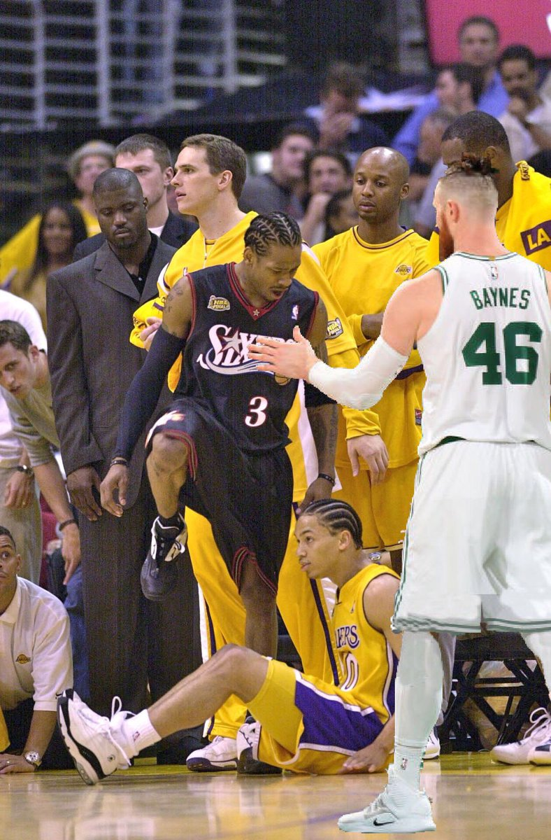 Aron Baynes congratulates Allen Iverson after Iverson steps over Ty Lue, while Mark Madsen stares off into space and Isaiah Rider looks down in shame. (2000) <br>http://pic.twitter.com/WGwwOa7Dwl