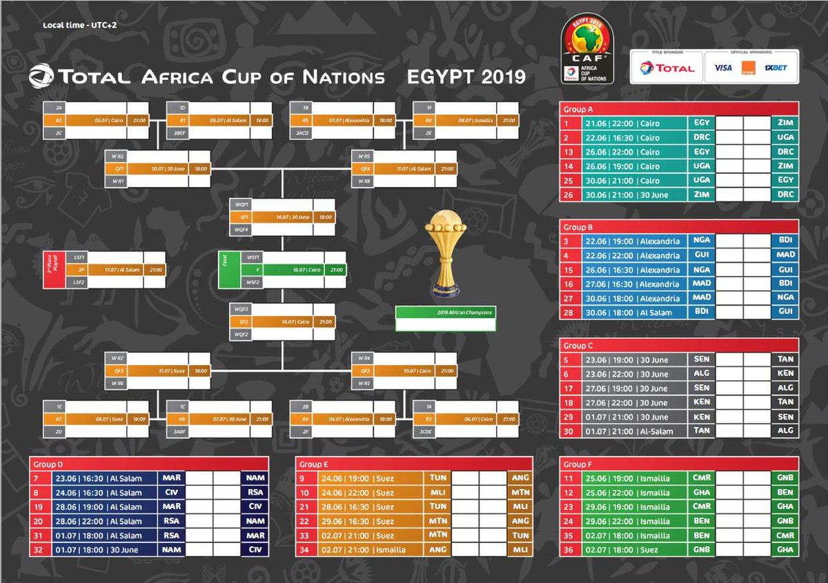 Calendario Serie A Tim 2019 Pdf.Afcon 2019 Full Fixtures