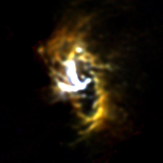 This infrared image of the ring of dust and gas surrounding the supermassive black hole at the center of our Milky Way Galaxy reveals material falling from the ring toward the black hole. More: go.nasa.gov/2G8OHkj