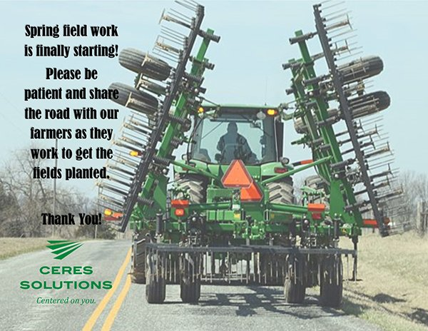 Please share and help us spread the word. Thank you for your patience and to our farmers and team members working to put the crop in this spring; please practice safety first. #Plant19 #safetyfirst