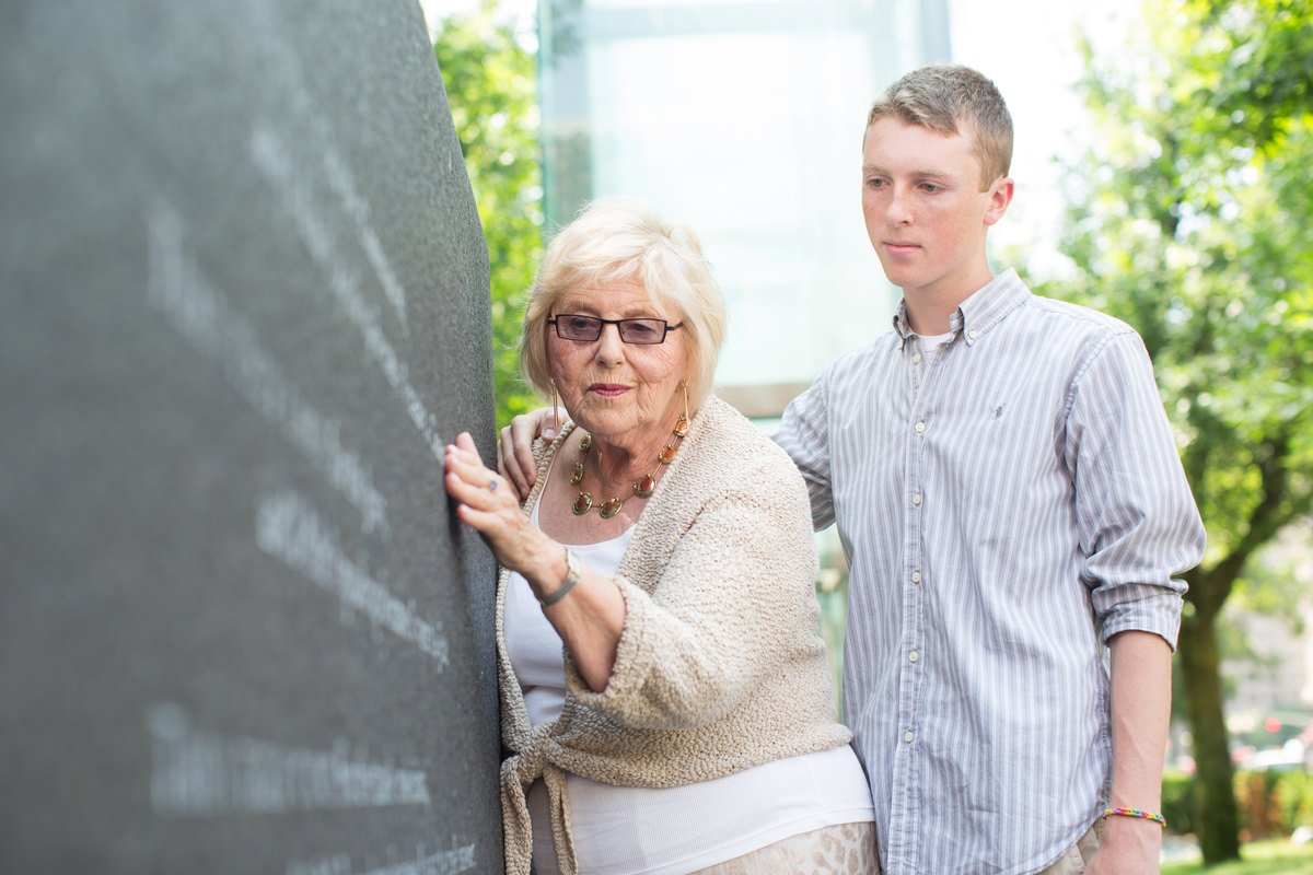 Holocaust survivor Janet Singer Applefield, pictured here at the New England Holocaust Memorial with her grandson, Isaac, will be giving testimony at this year's Yom HaShoah Commemoration on May 5th. Find out more: https://www.jcrcboston.org/events/yomhashoah19/ …