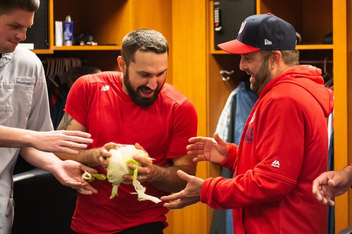 The Nationals celebrate big wins by flinging cabbage around the clubhouse