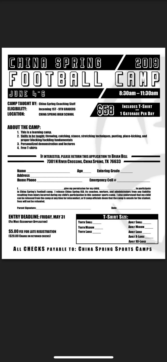 CS Football camp June 4-6 Incoming 1st thru 9th graders! Excited to see some future Cougs!!!