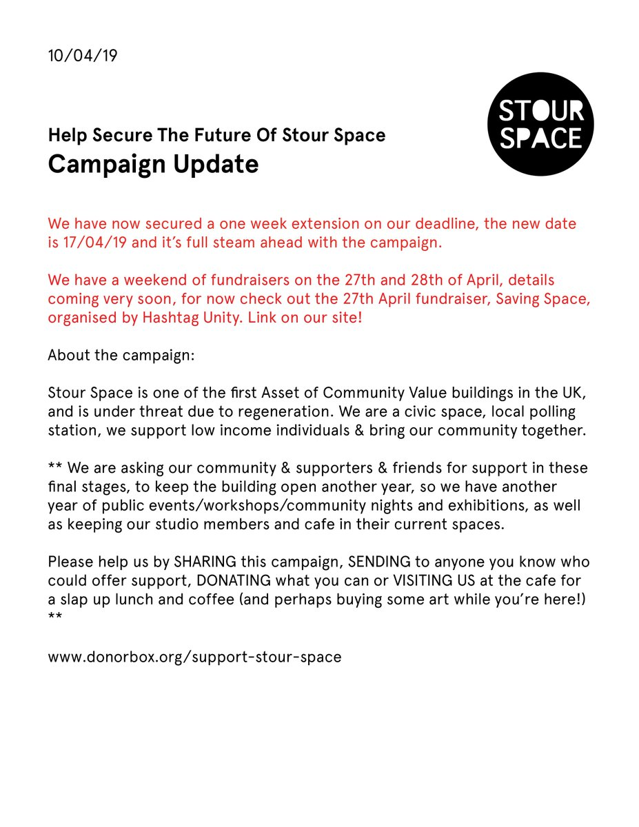 CAMPAIGN UPDATE: We've managed to secure an extension of another week (17/04)  for the lease renewal payment, so please keep on sharing & getting as many eyeballs on the campaign as possible! The support so far has been incredibly heartening. ❤️ http://donorbox.org/support-stour-space…