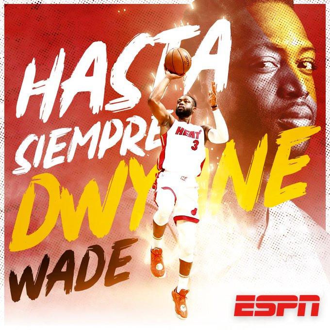 ¡Dwyane Wade se retira de las duelas de la #NBAxESPN! 🏀👋  3⃣ Campeonatos de la NBA 1⃣3⃣ Juegos de Estrellas  🥇 Oro en Beijing 2008  ¡Hasta siempre Dwyane! https://t.co/AX9nkOAGet